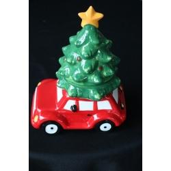 koektrommel keramisch auto met grote kerstboom