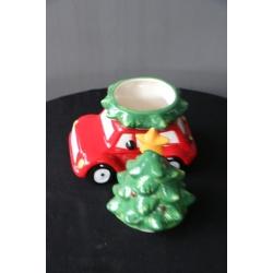 Koektrommel, keramisch, auto met kerstboom klein