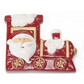 Christmas decoration, santa in train, ceramic
