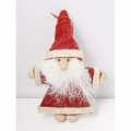 Christmas tree ornament, Santa textile 8.5cm