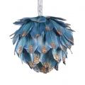 Peacock hanging ornament 12cm diameter, feathers